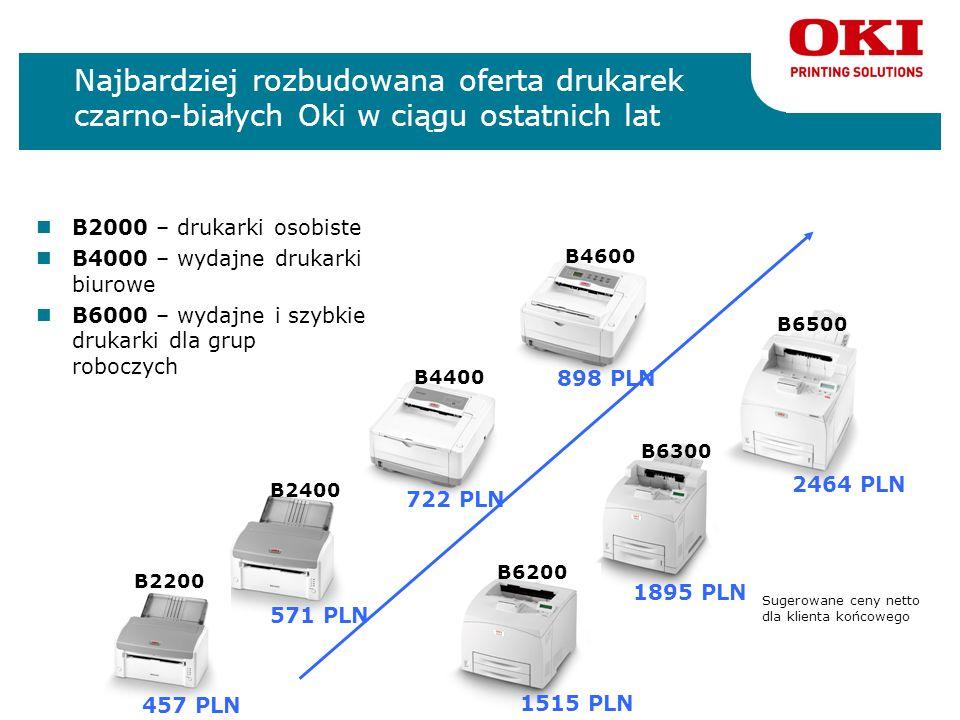 Najbardziej rozbudowana oferta drukarek czarno-białych Oki w ciągu ostatnich lat B2000 – drukarki osobiste B4000 – wydajne drukarki biurowe B6000 – wy