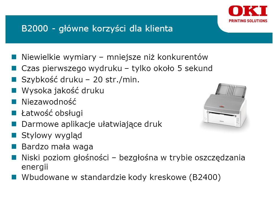 B2000 - główne korzyści dla klienta Niewielkie wymiary – mniejsze niż konkurentów Czas pierwszego wydruku – tylko około 5 sekund Szybkość druku – 20 s