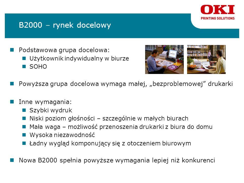 B2000 – rynek docelowy Podstawowa grupa docelowa: Użytkownik indywidualny w biurze SOHO Powyższa grupa docelowa wymaga małej, bezproblemowej drukarki