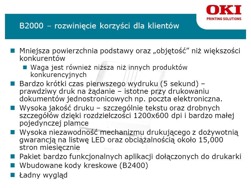 B2000 – rozwinięcie korzyści dla klientów Mniejsza powierzchnia podstawy oraz objętość niż większości konkurentów Waga jest również niższa niż innych