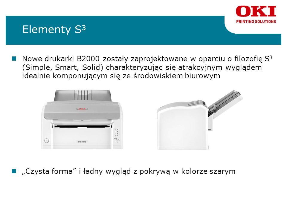 Elementy S 3 Nowe drukarki B2000 zostały zaprojektowane w oparciu o filozofię S 3 (Simple, Smart, Solid) charakteryzując się atrakcyjnym wyglądem idea