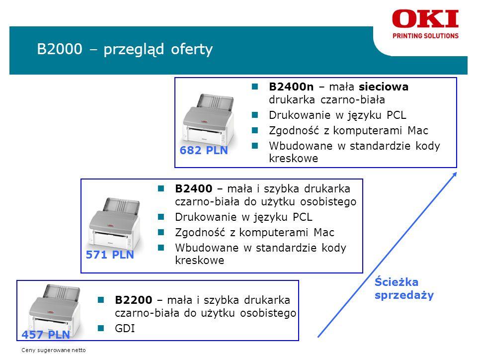 B2000 – przegląd oferty B2200 – mała i szybka drukarka czarno-biała do użytku osobistego GDI B2400n – mała sieciowa drukarka czarno-biała Drukowanie w