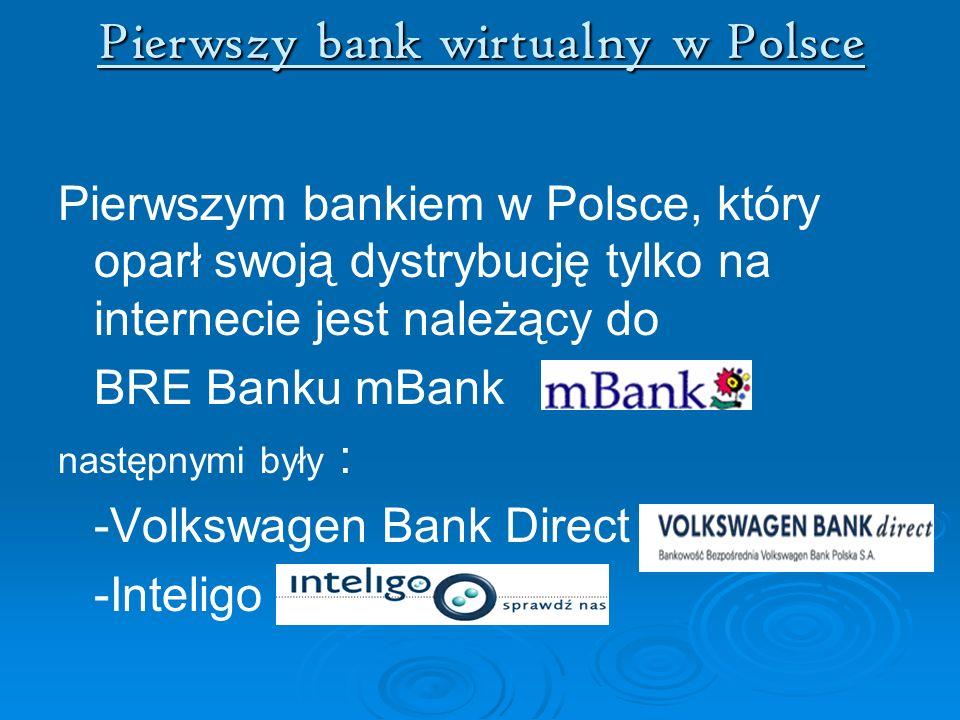 Pierwszy bank wirtualny w Polsce Pierwszym bankiem w Polsce, który oparł swoją dystrybucję tylko na internecie jest należący do BRE Banku mBank, nastę