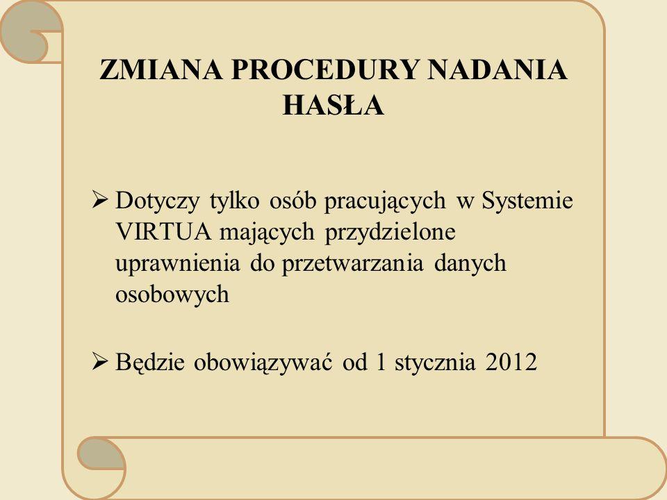 ZMIANA PROCEDURY NADANIA HASŁA Dotyczy tylko osób pracujących w Systemie VIRTUA mających przydzielone uprawnienia do przetwarzania danych osobowych Będzie obowiązywać od 1 stycznia 2012