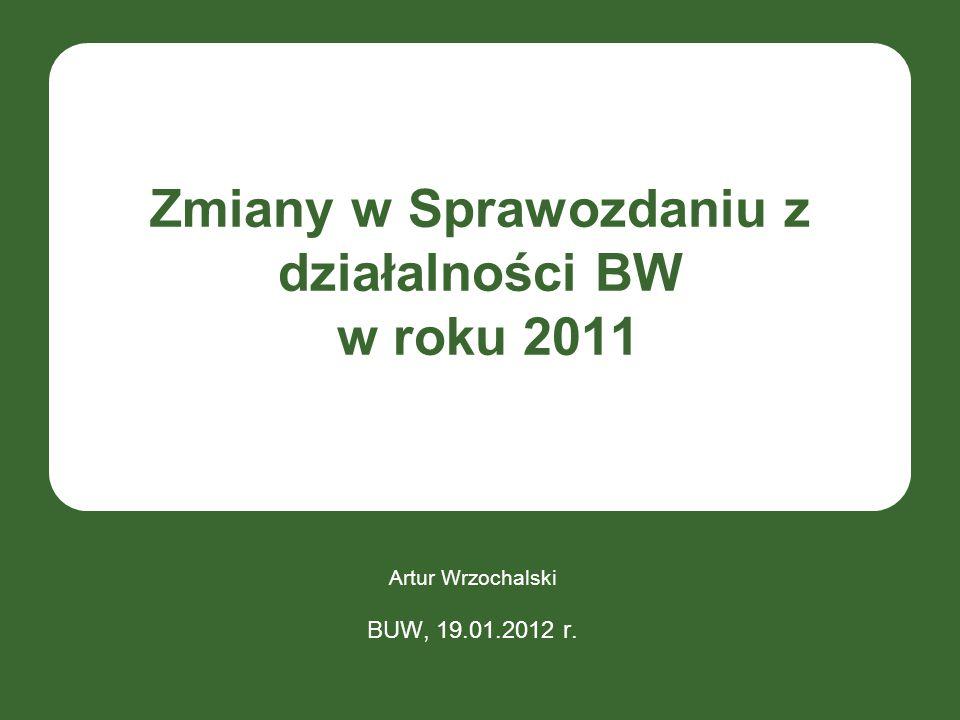 Zmiany w Sprawozdaniu z działalności BW w roku 2011 Artur Wrzochalski BUW, 19.01.2012 r.