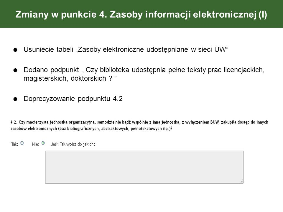 Zmiany w punkcie 4. Zasoby informacji elektronicznej (I) Usuniecie tabeli Zasoby elektroniczne udostępniane w sieci UW Dodano podpunkt Czy biblioteka
