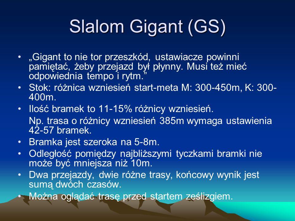 Slalom Gigant (GS) Gigant to nie tor przeszkód, ustawiacze powinni pamiętać, żeby przejazd był płynny. Musi też mieć odpowiednia tempo i rytm. Stok: r
