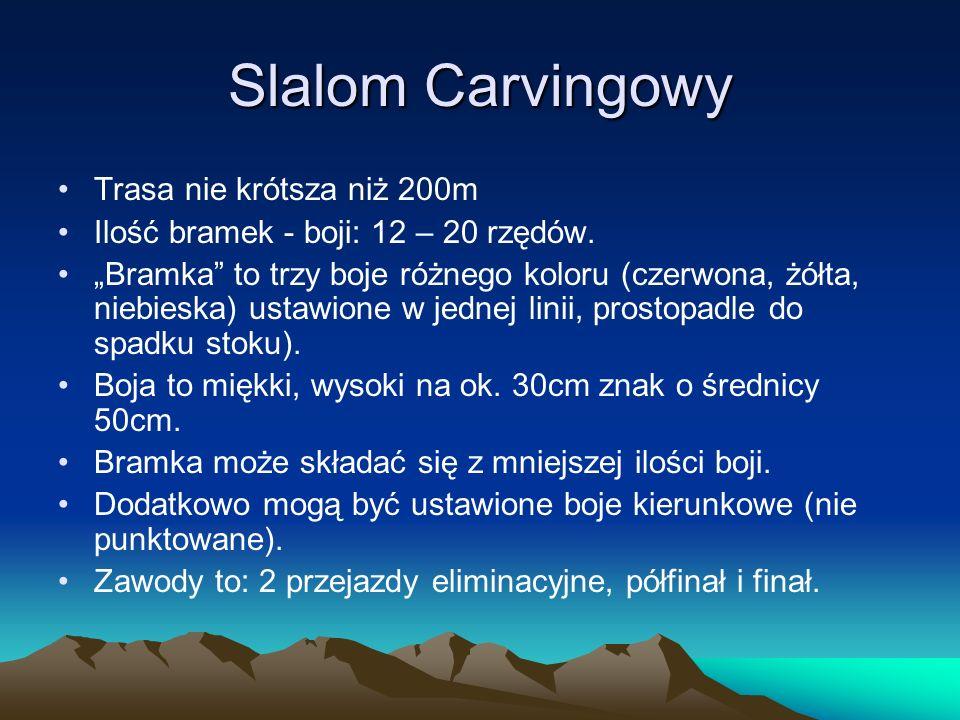 Slalom Carvingowy Trasa nie krótsza niż 200m Ilość bramek - boji: 12 – 20 rzędów. Bramka to trzy boje różnego koloru (czerwona, żółta, niebieska) usta