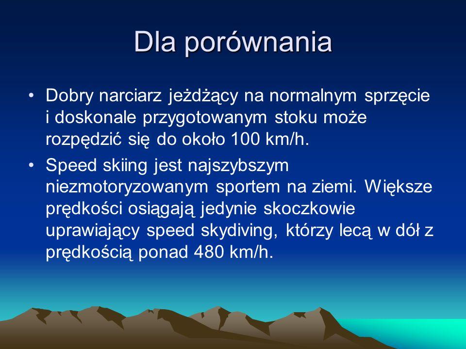 Dla porównania Dobry narciarz jeżdżący na normalnym sprzęcie i doskonale przygotowanym stoku może rozpędzić się do około 100 km/h. Speed skiing jest n