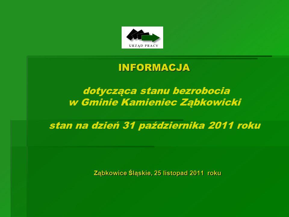 INFORMACJA INFORMACJA dotycząca stanu bezrobocia w Gminie Kamieniec Ząbkowicki stan na dzień 31 października 2011 roku Ząbkowice Śląskie, 25 listopad