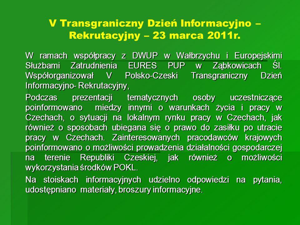 W ramach współpracy z DWUP w Wałbrzychu i Europejskimi Służbami Zatrudnienia EURES PUP w Ząbkowicach Śl. Współorganizował V Polsko-Czeski Transgranicz