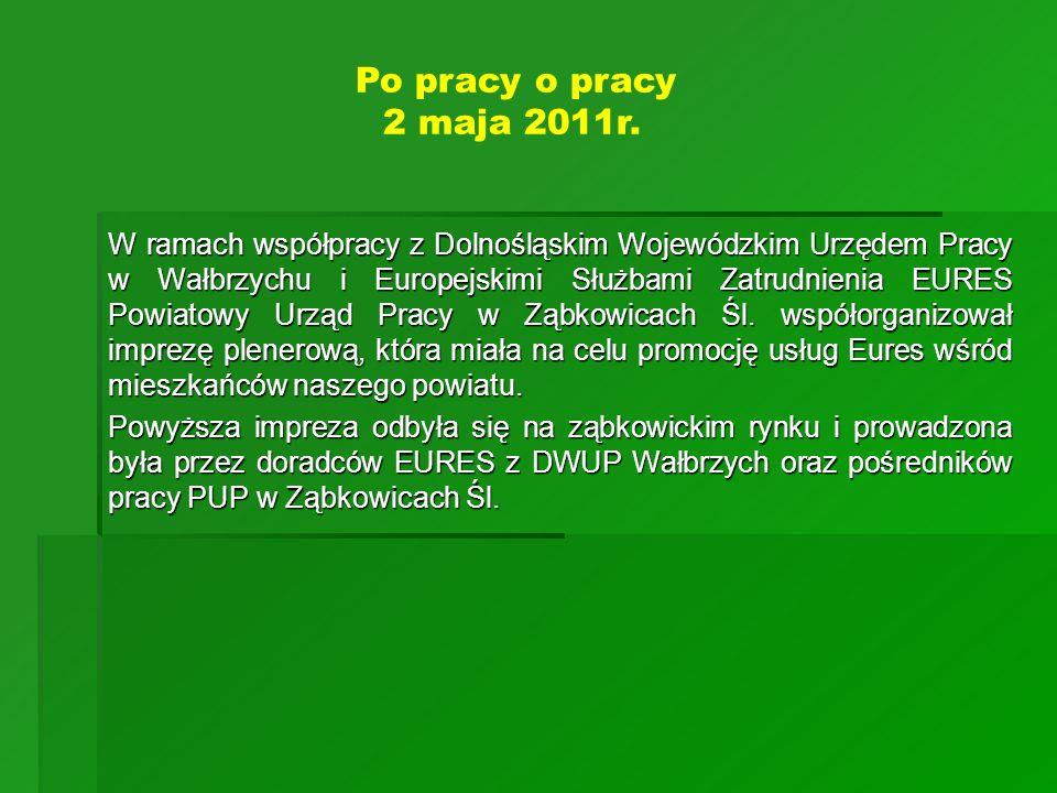 W ramach współpracy z Dolnośląskim Wojewódzkim Urzędem Pracy w Wałbrzychu i Europejskimi Służbami Zatrudnienia EURES Powiatowy Urząd Pracy w Ząbkowica