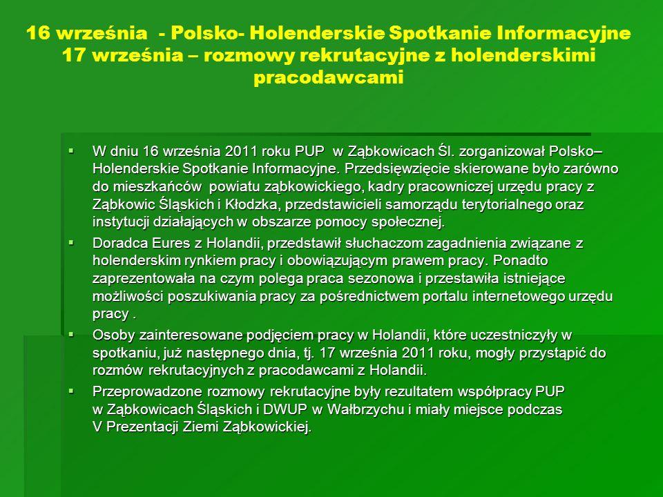 W dniu 16 września 2011 roku PUP w Ząbkowicach Śl. zorganizował Polsko– Holenderskie Spotkanie Informacyjne. Przedsięwzięcie skierowane było zarówno d