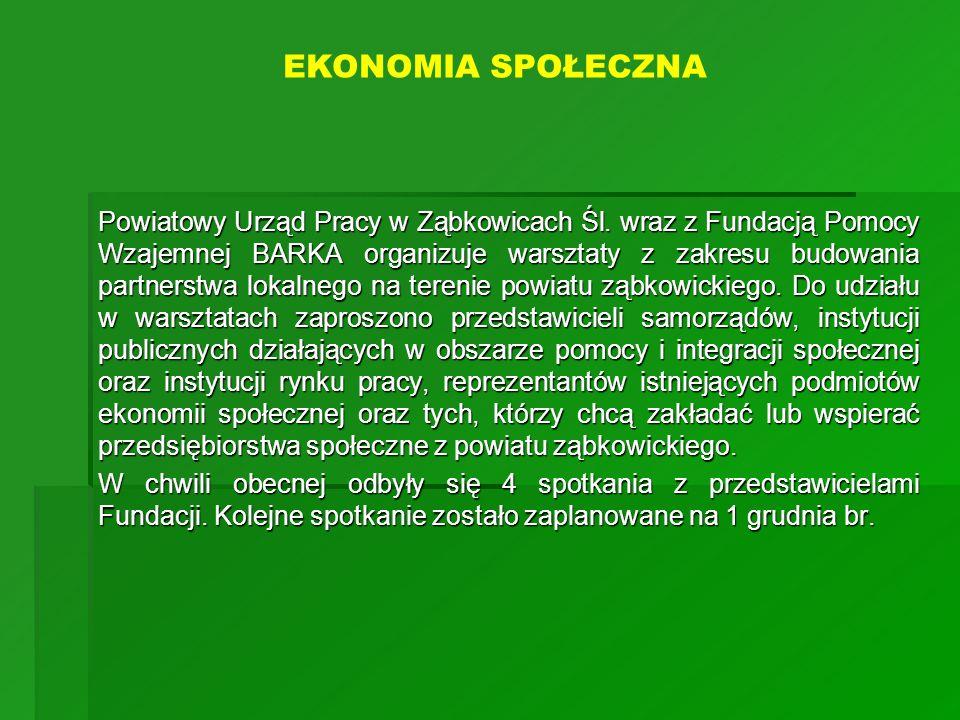 Powiatowy Urząd Pracy w Ząbkowicach Śl. wraz z Fundacją Pomocy Wzajemnej BARKA organizuje warsztaty z zakresu budowania partnerstwa lokalnego na teren