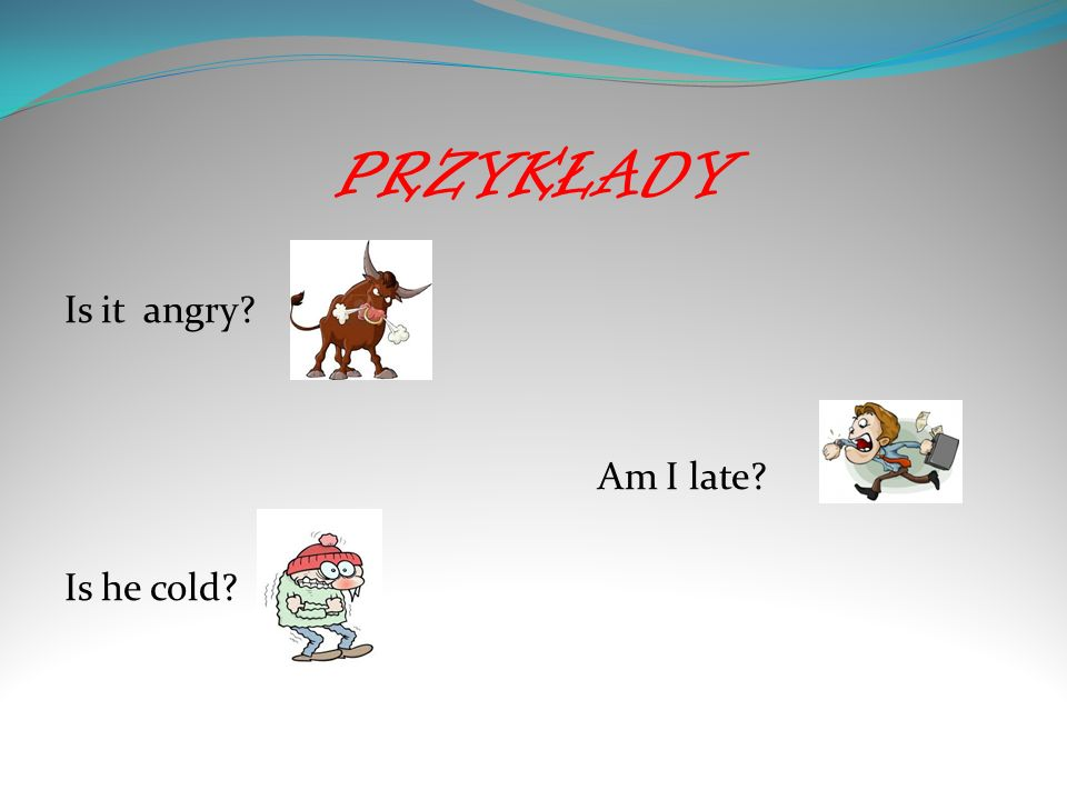 PRZYKŁADY Is it angry? Am I late? Is he cold?