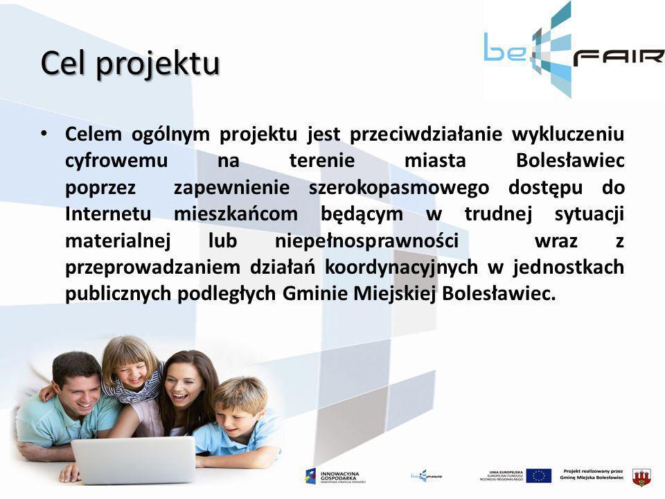 Cel projektu Celem ogólnym projektu jest przeciwdziałanie wykluczeniu cyfrowemu na terenie miasta Bolesławiec poprzez zapewnienie szerokopasmowego dos