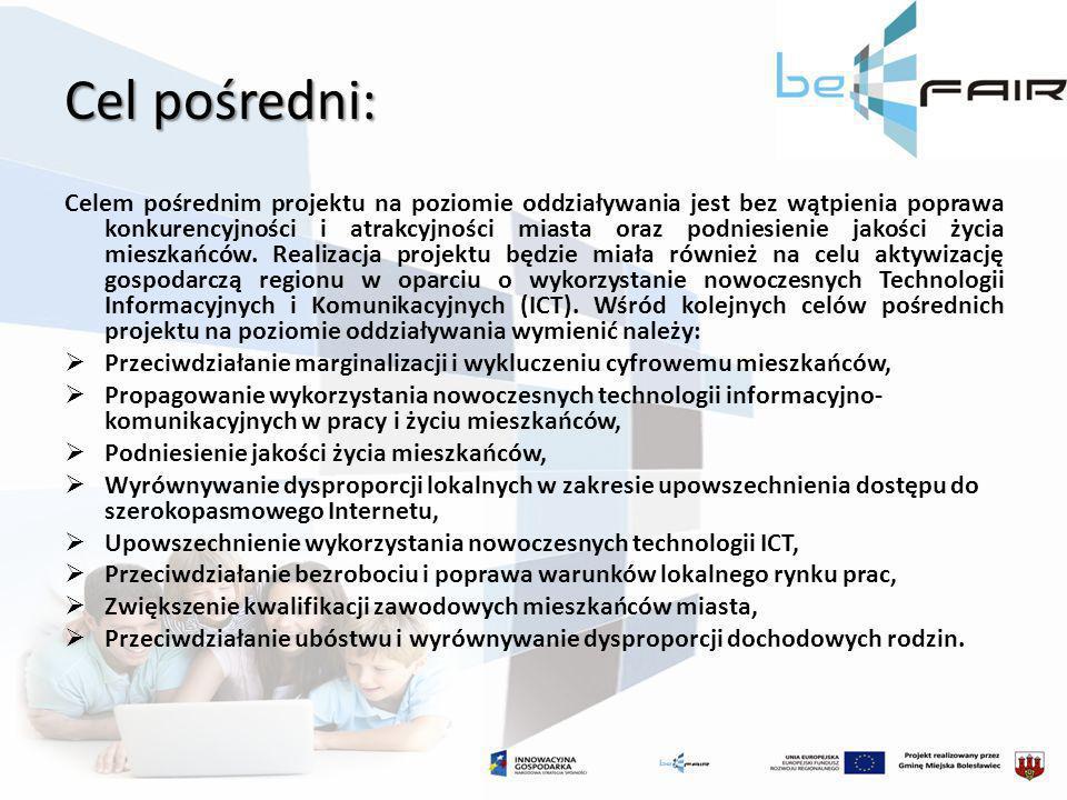 Cel pośredni: Celem pośrednim projektu na poziomie oddziaływania jest bez wątpienia poprawa konkurencyjności i atrakcyjności miasta oraz podniesienie
