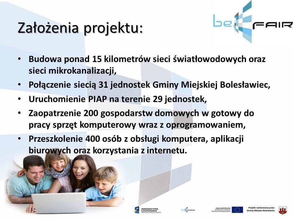 Założenia projektu: Budowa ponad 15 kilometrów sieci światłowodowych oraz sieci mikrokanalizacji, Połączenie siecią 31 jednostek Gminy Miejskiej Boles
