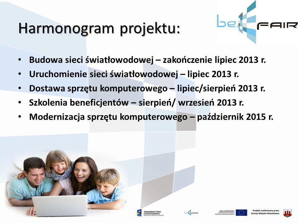 Harmonogram projektu: Budowa sieci światłowodowej – zakończenie lipiec 2013 r. Uruchomienie sieci światłowodowej – lipiec 2013 r. Dostawa sprzętu komp