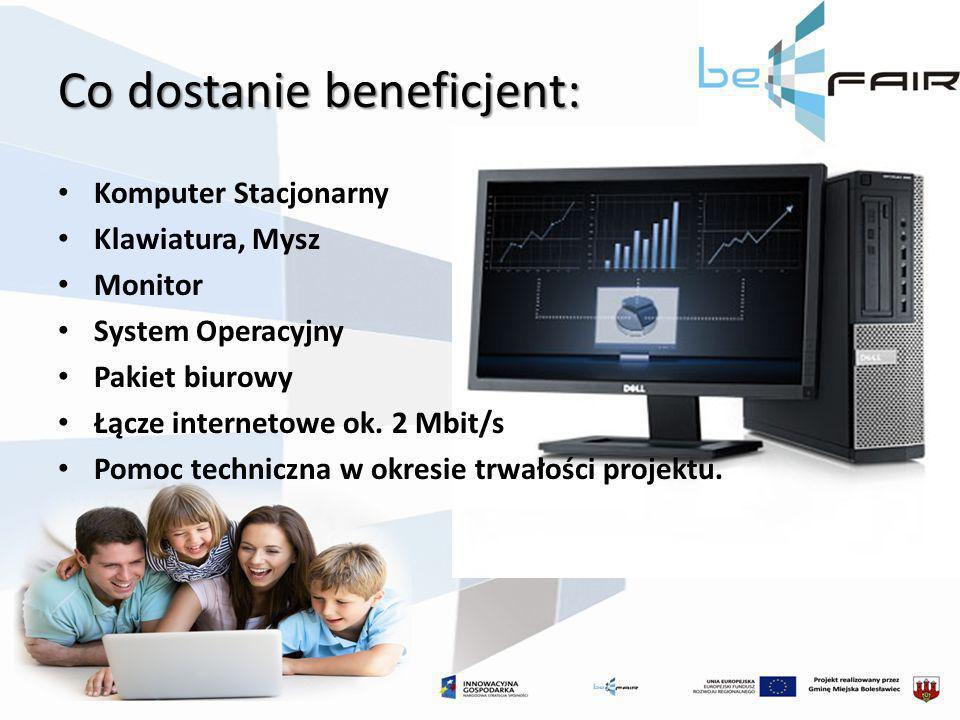 Co dostanie beneficjent: Komputer Stacjonarny Klawiatura, Mysz Monitor System Operacyjny Pakiet biurowy Łącze internetowe ok. 2 Mbit/s Pomoc techniczn