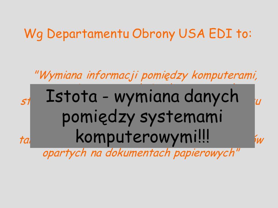 Wg Departamentu Obrony USA EDI to: