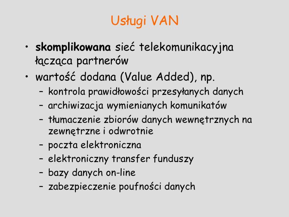 Usługi VAN skomplikowana sieć telekomunikacyjna łącząca partnerów wartość dodana (Value Added), np. –kontrola prawidłowości przesyłanych danych –archi