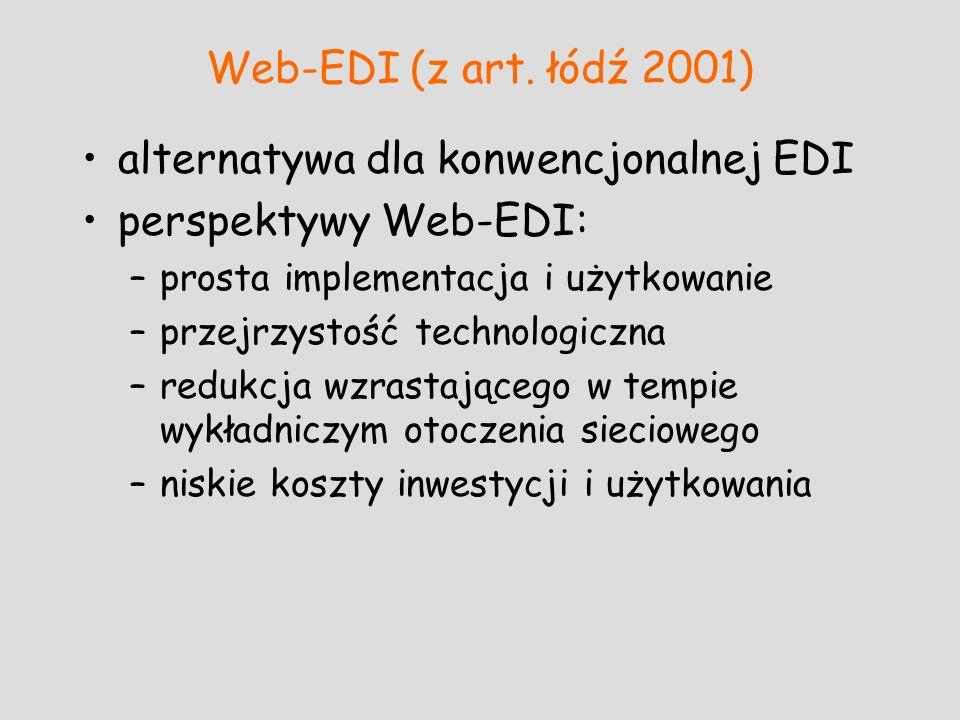 Web-EDI (z art. łódź 2001) alternatywa dla konwencjonalnej EDI perspektywy Web-EDI: –prosta implementacja i użytkowanie –przejrzystość technologiczna