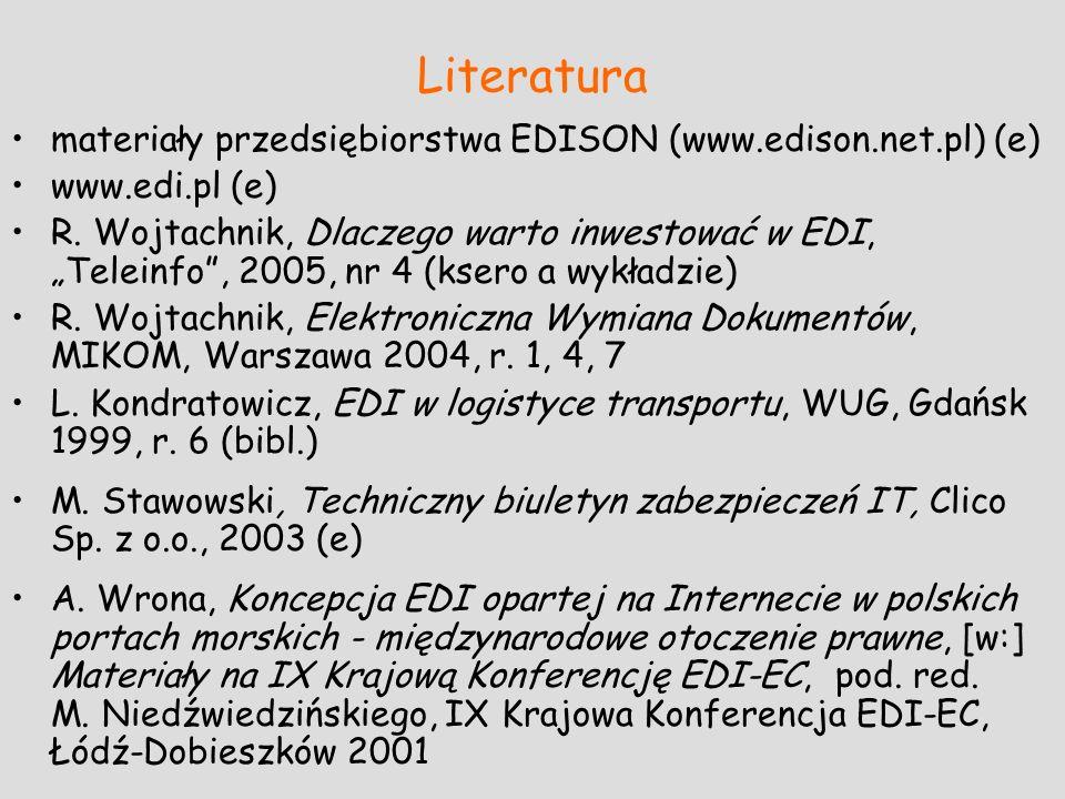 Literatura materiały przedsiębiorstwa EDISON (www.edison.net.pl) (e) www.edi.pl (e) R. Wojtachnik, Dlaczego warto inwestować w EDI, Teleinfo, 2005, nr
