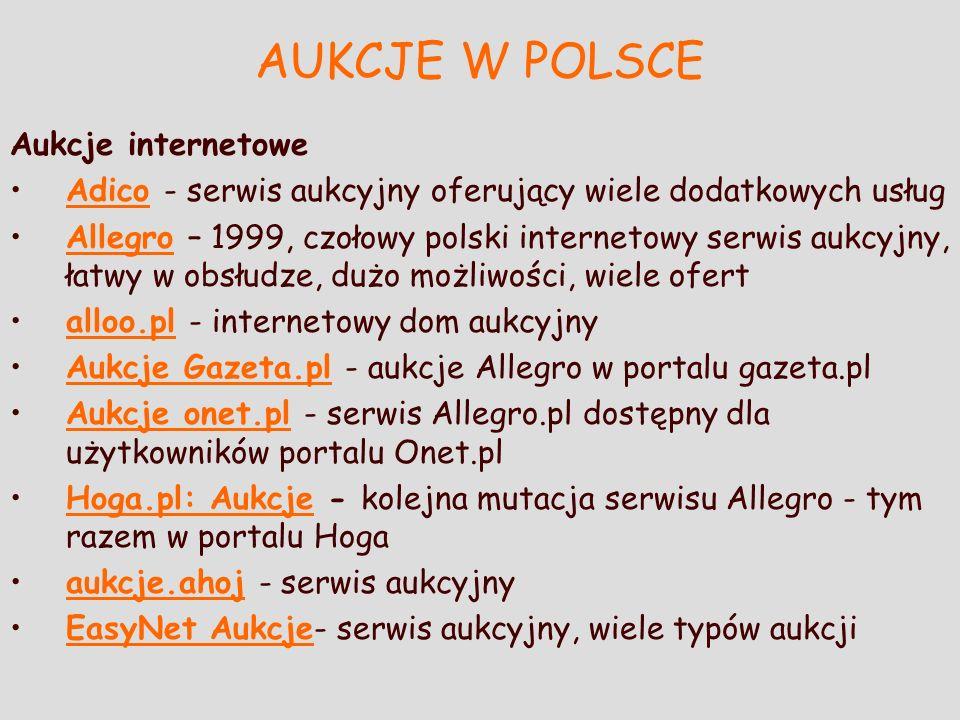 AUKCJE W POLSCE Aukcje internetowe Adico - serwis aukcyjny oferujący wiele dodatkowych usługAdico Allegro – 1999, czołowy polski internetowy serwis au