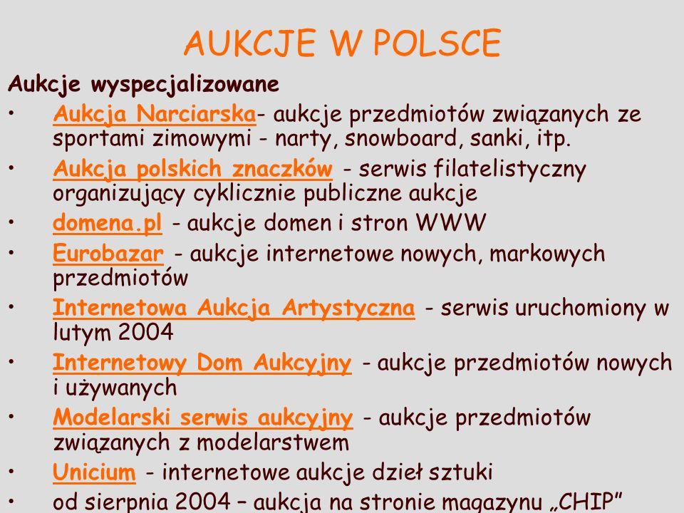AUKCJE W POLSCE Aukcje wyspecjalizowane Aukcja Narciarska- aukcje przedmiotów związanych ze sportami zimowymi - narty, snowboard, sanki, itp.Aukcja Na
