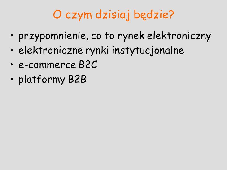 O czym dzisiaj będzie? przypomnienie, co to rynek elektroniczny elektroniczne rynki instytucjonalne e-commerce B2C platformy B2B