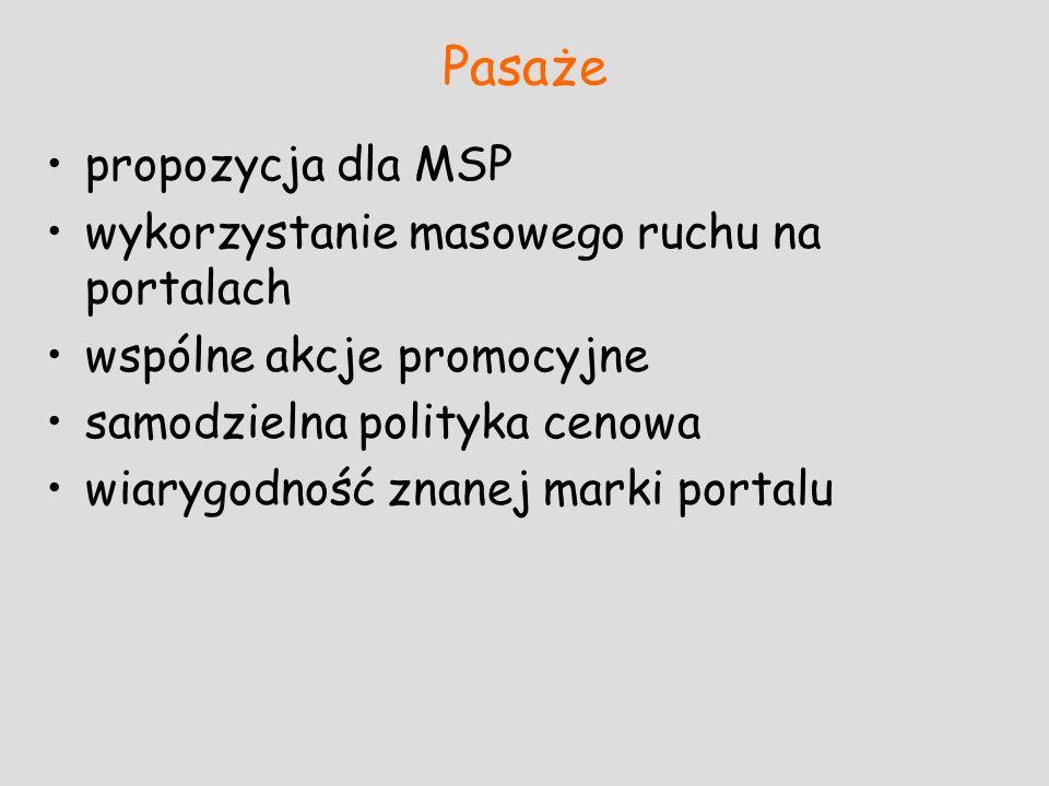 Pasaże propozycja dla MSP wykorzystanie masowego ruchu na portalach wspólne akcje promocyjne samodzielna polityka cenowa wiarygodność znanej marki por