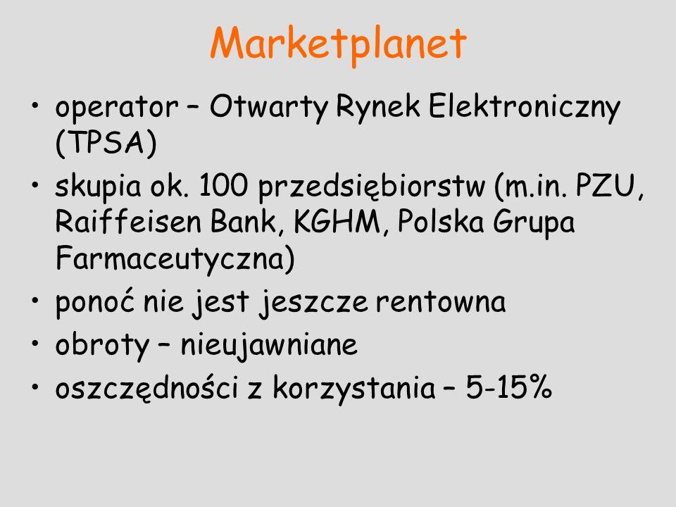 Marketplanet operator – Otwarty Rynek Elektroniczny (TPSA) skupia ok. 100 przedsiębiorstw (m.in. PZU, Raiffeisen Bank, KGHM, Polska Grupa Farmaceutycz