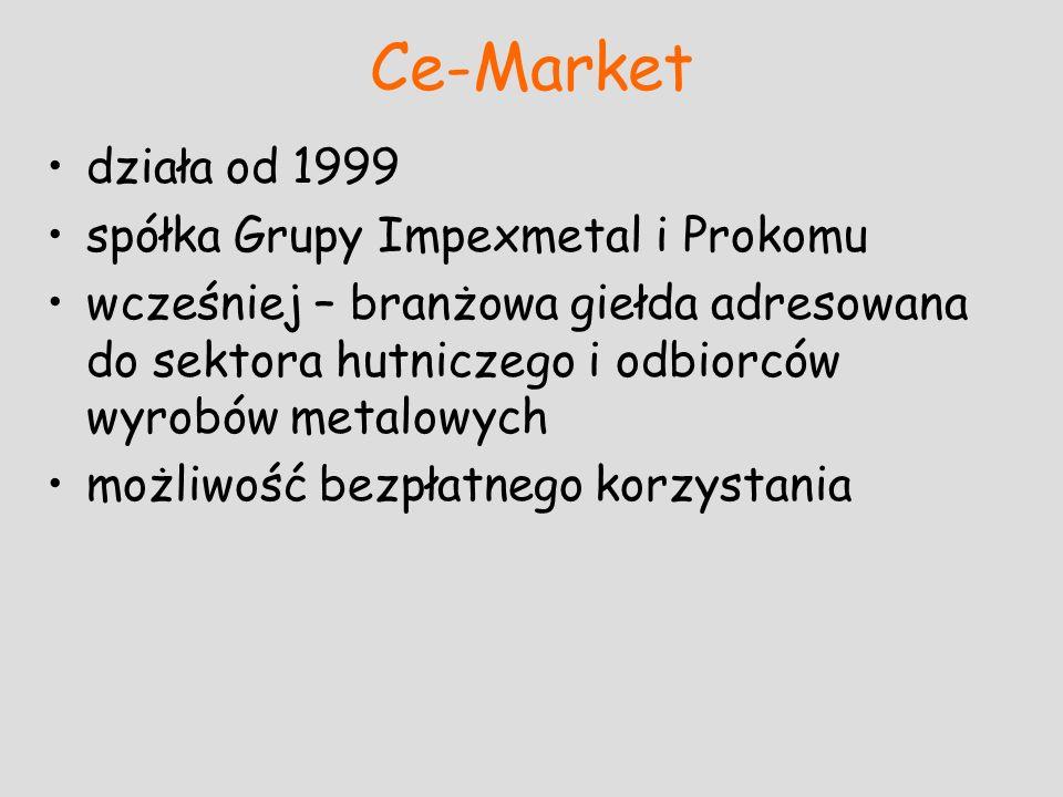 Ce-Market działa od 1999 spółka Grupy Impexmetal i Prokomu wcześniej – branżowa giełda adresowana do sektora hutniczego i odbiorców wyrobów metalowych
