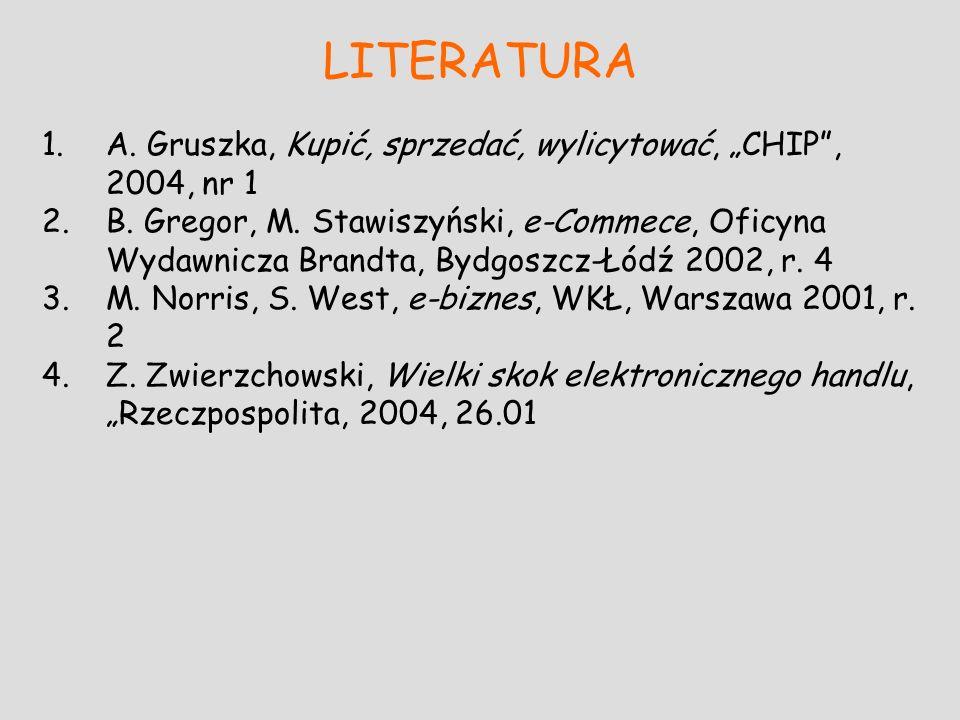 LITERATURA 1.A. Gruszka, Kupić, sprzedać, wylicytować, CHIP, 2004, nr 1 2.B. Gregor, M. Stawiszyński, e-Commece, Oficyna Wydawnicza Brandta, Bydgoszcz
