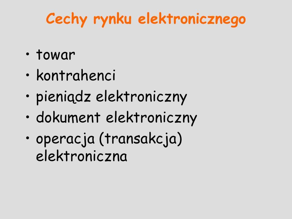 Cechy rynku elektronicznego towar kontrahenci pieniądz elektroniczny dokument elektroniczny operacja (transakcja) elektroniczna