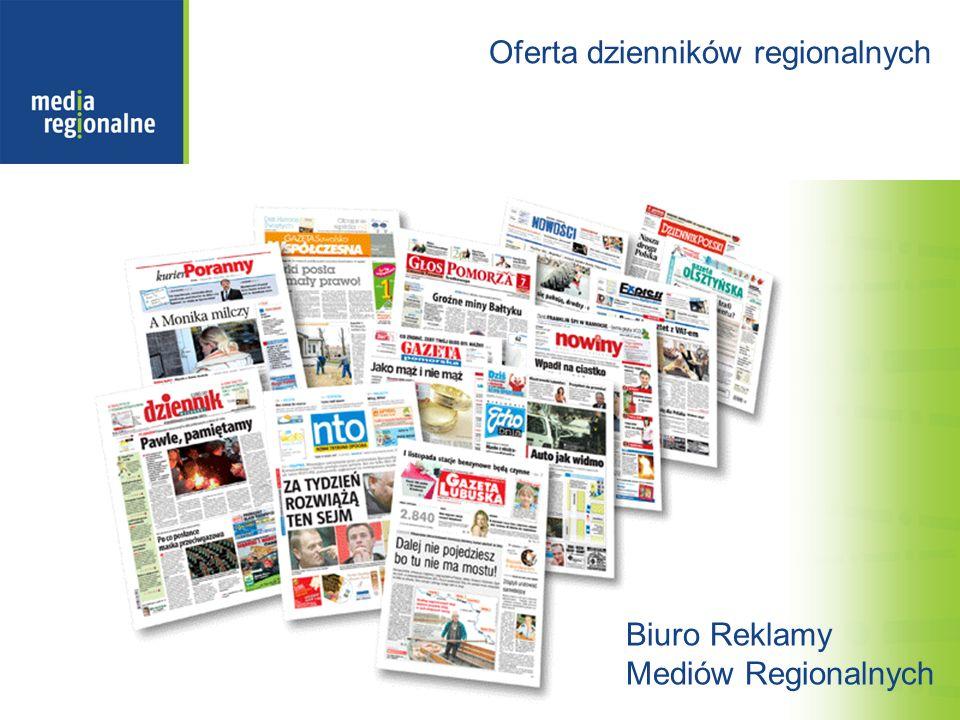 Pakiet Zdrowie dzienników regionalnych: 9 regionów czytelniczych 12 dzienników regionalnych dodatki lub strony zdrowie Pakiet dostępny wyłącznie dla klientów z branż: zdrowie, uroda, żywność (bez piwa), chemia gospodarstwa domowego.