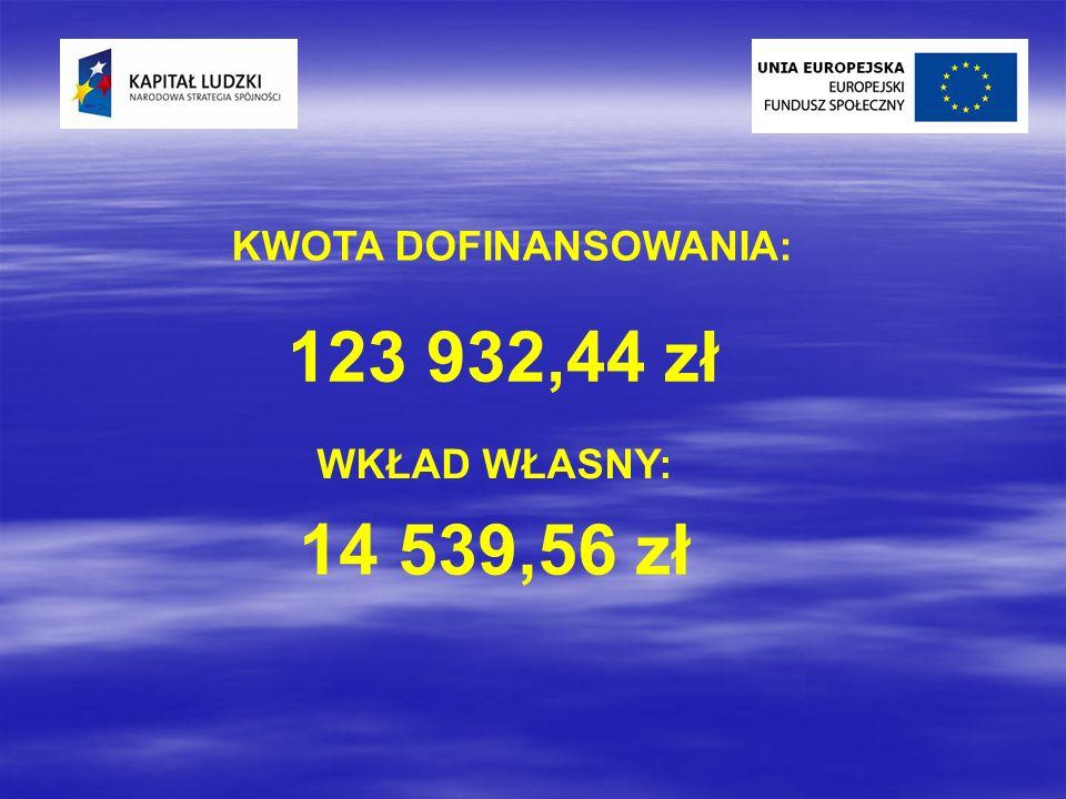 KWOTA DOFINANSOWANIA: 123 932,44 zł WKŁAD WŁASNY: 14 539,56 zł
