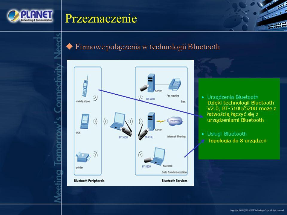Firmowe połączenia w technologii Bluetooth Przeznaczenie Urządzenia Bluetooth Dzięki technologii Bluetooth V2.0, BT-510U/520U może z łatwością łączyć się z urządzeniami Bluetooth Usługi Bluetooth Topologia do 8 urządzeń