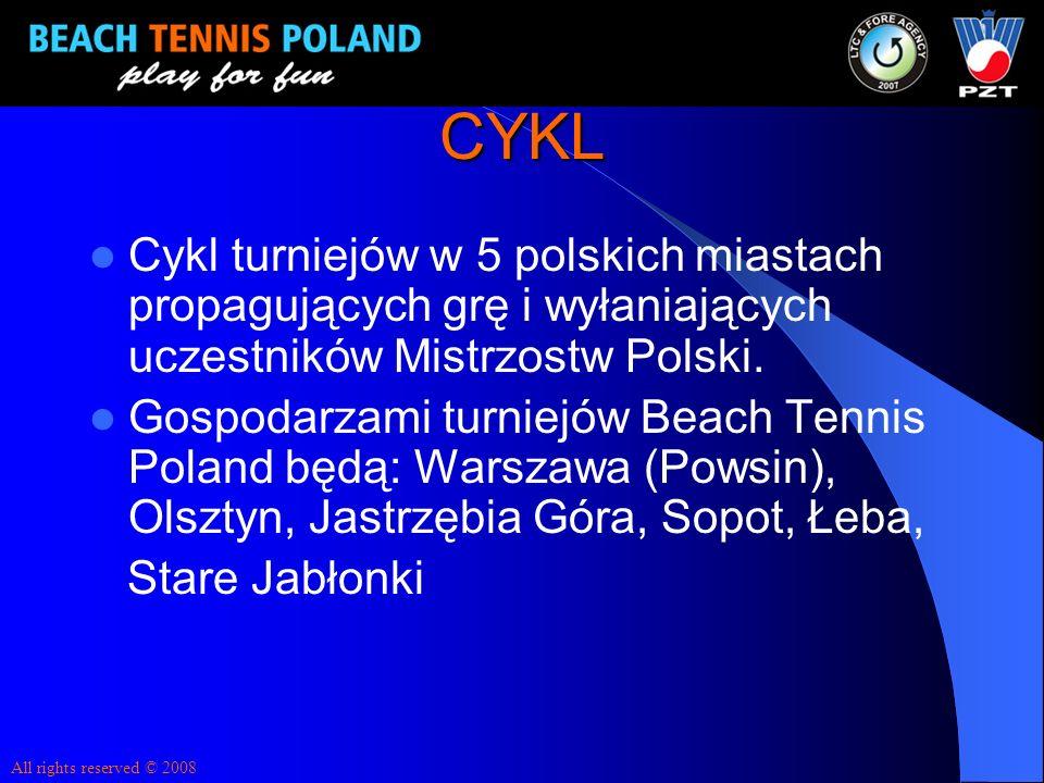 CYKL Cykl turniejów w 5 polskich miastach propagujących grę i wyłaniających uczestników Mistrzostw Polski. Gospodarzami turniejów Beach Tennis Poland