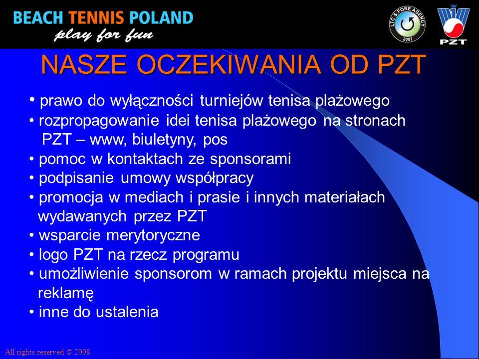 NASZE OCZEKIWANIA OD PZT prawo do wyłączności turniejów tenisa plażowego rozpropagowanie idei tenisa plażowego na stronach PZT – www, biuletyny, pos p