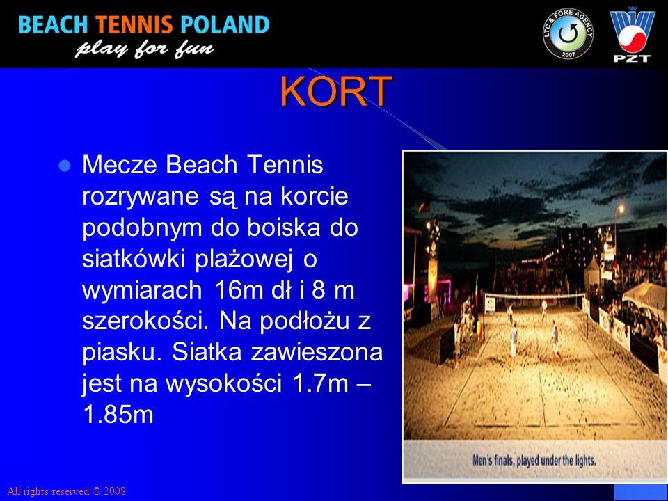 KORT Mecze Beach Tennis rozrywane są na korcie podobnym do boiska do siatkówki plażowej o wymiarach 16m dł i 8 m szerokości. Na podłożu z piasku. Siat
