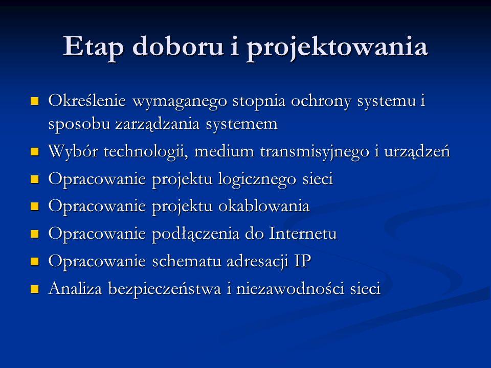 Etap doboru i projektowania Określenie wymaganego stopnia ochrony systemu i sposobu zarządzania systemem Określenie wymaganego stopnia ochrony systemu