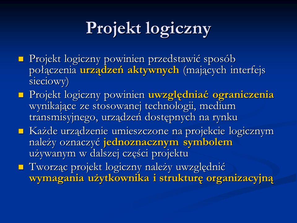 Projekt logiczny Projekt logiczny powinien przedstawić sposób połączenia urządzeń aktywnych (mających interfejs sieciowy) Projekt logiczny powinien pr