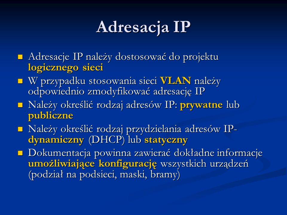 Adresacja IP Adresacje IP należy dostosować do projektu logicznego sieci Adresacje IP należy dostosować do projektu logicznego sieci W przypadku stoso
