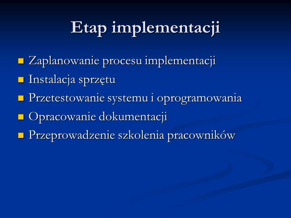 Etap implementacji Zaplanowanie procesu implementacji Zaplanowanie procesu implementacji Instalacja sprzętu Instalacja sprzętu Przetestowanie systemu