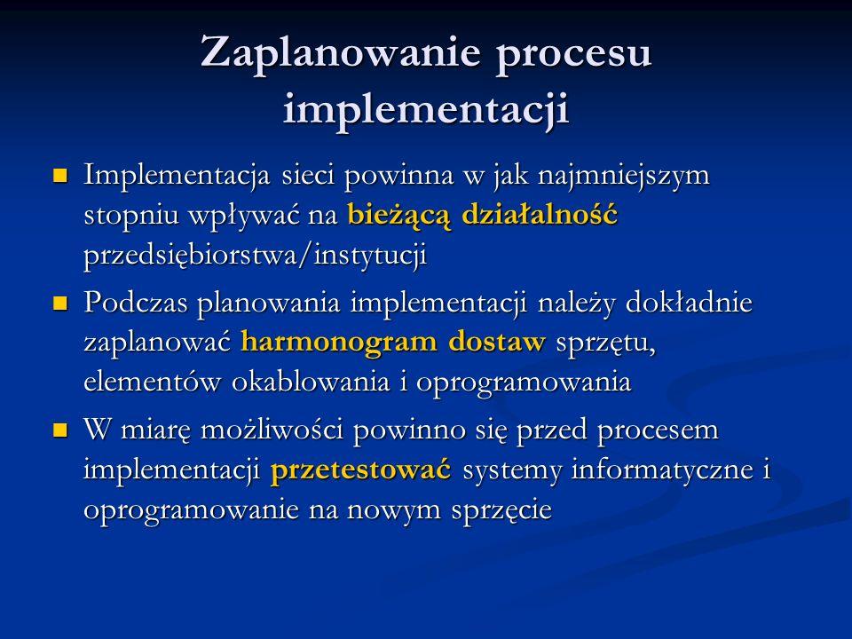 Zaplanowanie procesu implementacji Implementacja sieci powinna w jak najmniejszym stopniu wpływać na bieżącą działalność przedsiębiorstwa/instytucji I
