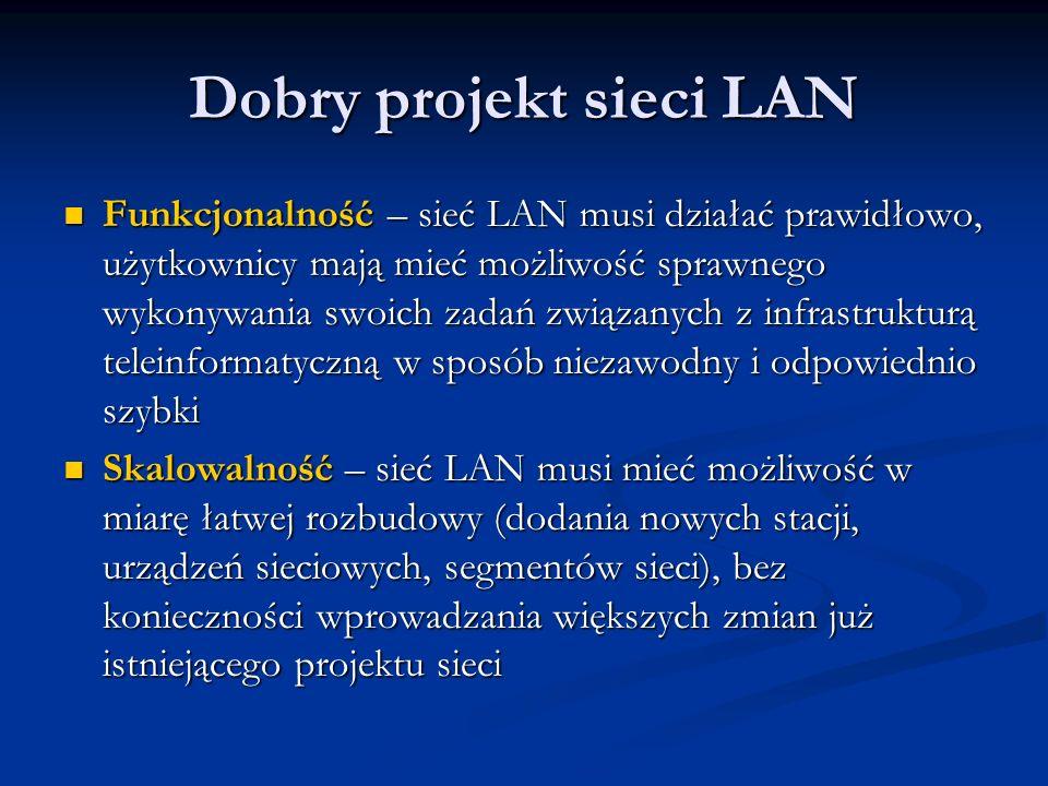 Dobry projekt sieci LAN Funkcjonalność – sieć LAN musi działać prawidłowo, użytkownicy mają mieć możliwość sprawnego wykonywania swoich zadań związany