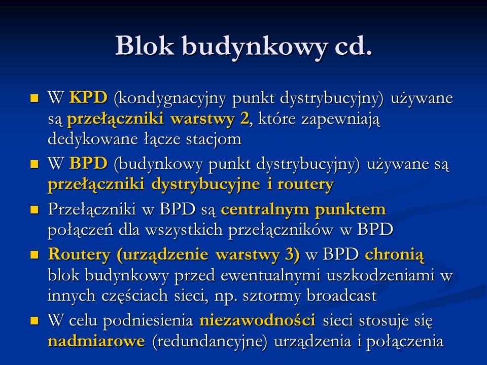 Blok budynkowy cd. W KPD (kondygnacyjny punkt dystrybucyjny) używane są przełączniki warstwy 2, które zapewniają dedykowane łącze stacjom W KPD (kondy