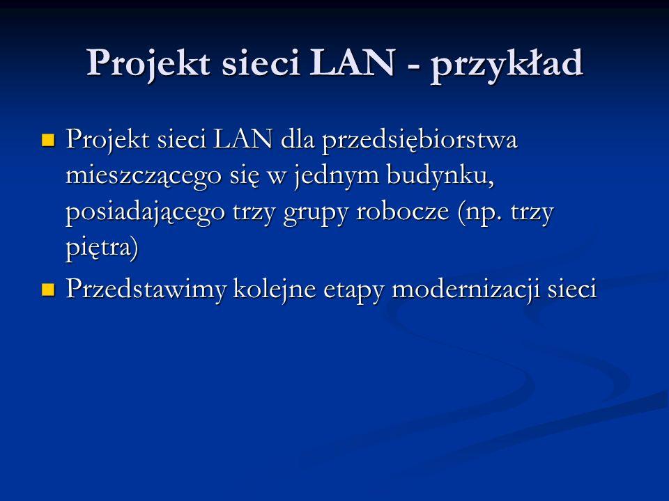 Projekt sieci LAN - przykład Projekt sieci LAN dla przedsiębiorstwa mieszczącego się w jednym budynku, posiadającego trzy grupy robocze (np. trzy pięt